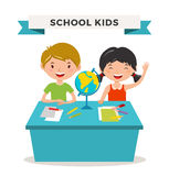 Kids school geography lessons illustration Stock Image