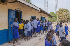 Kids in school. In Kanilai is a village in southern Gambia. President of the Gambia Yahya Jammeh was born in this village Royalty Free Stock Photo