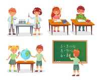 Kids on school lesson. Primary schools pupils on chemistry lessons, learn geography globe or sit at desk vector cartoon. Kids on school lesson. Primary schools stock illustration