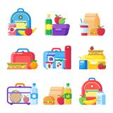 Kids school lunch box. Schoolkid meal bag for dinner. Red apple, milk snack dinners in children food boxes flat vector royalty free illustration