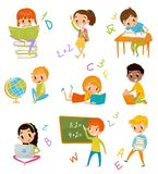 Kids at school set, cute boys and girls at lesson of geography, literature, mathematics vector Illustrations on a white vector illustration