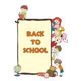 Kids school sketch poster Stock Photo