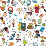 Kids school sketch seamless pattern. Kids drawing and writing formulas on chalkboard with school accessories background seamless doodle sketch pattern vector Stock Image