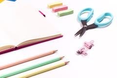 Kids school supplies stock images