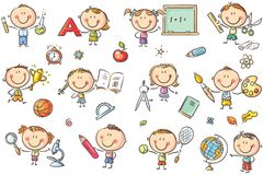 Kids with School Things. Happy doodle kids with school things like pencils, books, blackboard, etc. No gradients used, easy to print and edit. Vector files can stock illustration