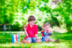 Kids in school yard Royalty Free Stock Photography
