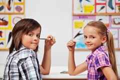Kids in science class Stock Photos