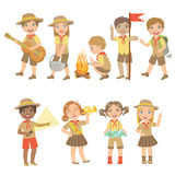Kids Scouts Hiking Set Stock Images