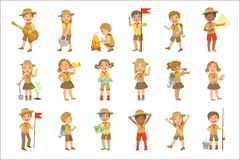 Kids Scouts Hiking Set. Of Cute Big-eyed Characters Flat Vector Isolated Illustrations On White Background vector illustration