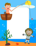 Kids & Sea Photo Frame [2]. Photo frame, post card or page for your scrapbook. Subject: two happy kids playing in the sea. Eps file available Stock Photo