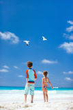 Kids and seabirds Stock Photo