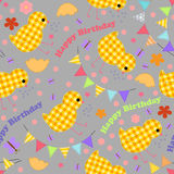 Kids seamless background with chickens, garlands, happy birthday Royalty Free Stock Photo