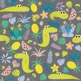Kids seamless background with funny crocodiles. Seamless pattern with funny crocodiles and fruits on a gray background. Children vector background Royalty Free Stock Photos