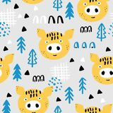 Kids seamless background with yellow pigs royalty free illustration