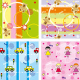 Kids seamless multi-colored background. With toys and figures royalty free illustration