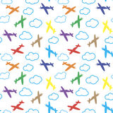 Kids seamless pattern with airplanes, stars and clouds colorful. White background. Baby pattern. Royalty Free Stock Photography