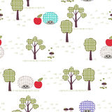 Kids seamless pattern, applique, hedgehogs, trees, apples, grass. Children white seamless pattern, imitation of applique Stock Image