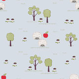 Kids seamless pattern, applique, hedgehogs, trees, apples, mushr Stock Images