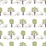 Kids seamless pattern, applique, hedgehogs, trees, grass. Children white seamless pattern, imitation patchwork Stock Photos