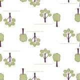 Kids seamless pattern, applique, trees. Children white seamless pattern, imitation patchwork Royalty Free Stock Image