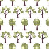 Kids seamless pattern, applique, trees, grass Royalty Free Stock Photo