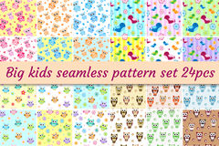 Kids seamless pattern big set. Children endless background with cute birds, owls, teddy bear.  Royalty Free Stock Images