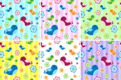 Kids seamless pattern with birds. Birdies endless background, texture. Royalty Free Stock Photo