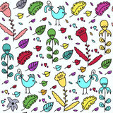Kids seamless pattern with birds and seamless pattern in swatch Royalty Free Stock Photo