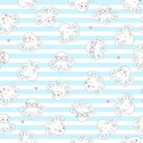 Kids seamless pattern with cartoon octopuses royalty free illustration