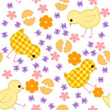 Kids seamless pattern with chickens, flowers and butterflies Stock Photography