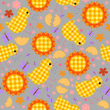 Kids seamless pattern with chickens, quilt, patchwork Royalty Free Stock Images