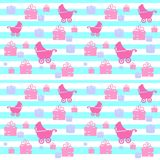 Kids seamless pattern. Cute seamless pattern with baby carriage on striped background. Vector illustration Royalty Free Stock Photography