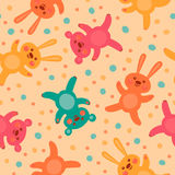 Kids seamless pattern with cute bears and hares Royalty Free Stock Photos