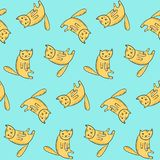 Kids pattern with cute sitting outline orange cats stock illustration
