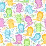 Kids seamless pattern with dinosaurs and funny doodle. Cute background with dino, flowers, leaves, cloud, hearts, crown, egg, hearts and more smiles Royalty Free Stock Image