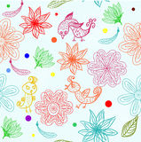 Kids seamless pattern with flowers in vector. Floral seamless backgrounds for design of fabrics and wallpapers in vector Royalty Free Stock Images