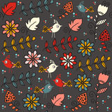 Kids seamless pattern with funny birds and seamless pattern in s Stock Images