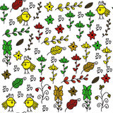 Kids seamless pattern with funny birds  and seamless pattern in Stock Image