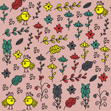 Kids seamless pattern with funny birds and seamless pattern in swatch menu,  image. Colorful cute background. Kids seamless pattern with funny birds and seamless Stock Photo