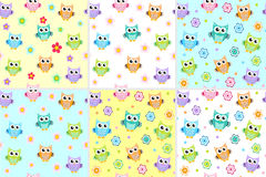 Kids seamless pattern with owls. Owl endless background, texture. Children s backdrop. Vector illustration. Stock Photos