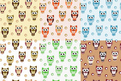 Kids seamless pattern with owls. Owl endless background, texture. Children s backdrop. Vector illustration. Royalty Free Stock Image