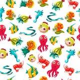Kids seamless pattern with sea life Stock Image