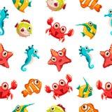 Kids seamless pattern with sea life Stock Photo