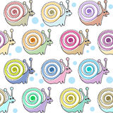 Kids seamless pattern with snails. Vector Royalty Free Stock Images