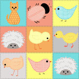 Kids seamless pattern with stylized young animals Royalty Free Stock Image
