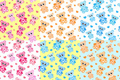 Kids seamless pattern with teddy bear. Bears endless background, texture. Stock Photo
