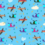 Kids seamless vector pattern with airplanes and helicopters Royalty Free Stock Image