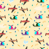 Kids seamless vector pattern with airplanes and helicopters Stock Photography