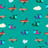 Kids seamless vector pattern with airplanes and helicopters Stock Photos