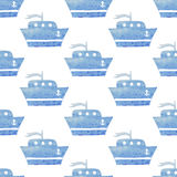 Kids seamless vector watercolor pattern with ships, boats on whi Stock Photo